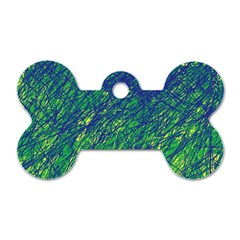 Green pattern Dog Tag Bone (Two Sides)