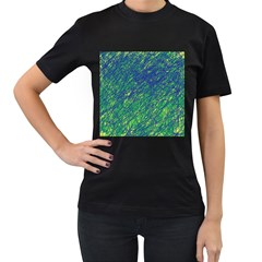 Green pattern Women s T-Shirt (Black)