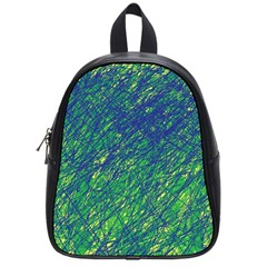 Green pattern School Bags (Small)