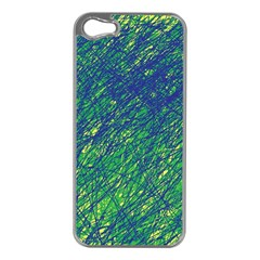Green pattern Apple iPhone 5 Case (Silver)