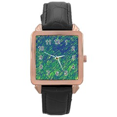 Green pattern Rose Gold Leather Watch
