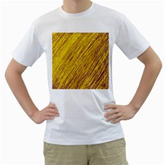Yellow Van Gogh pattern Men s T-Shirt (White) (Two Sided)