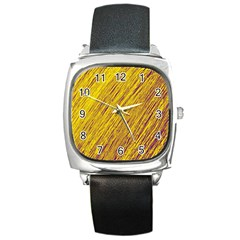 Yellow Van Gogh pattern Square Metal Watch