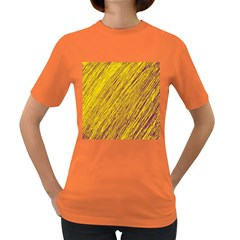 Yellow Van Gogh pattern Women s Dark T-Shirt