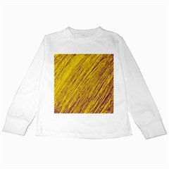 Yellow Van Gogh pattern Kids Long Sleeve T-Shirts