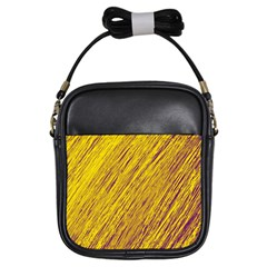 Yellow Van Gogh pattern Girls Sling Bags