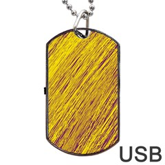 Yellow Van Gogh pattern Dog Tag USB Flash (Two Sides)