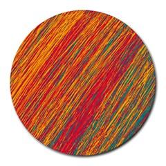 Orange Van Gogh pattern Round Mousepads