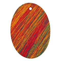 Orange Van Gogh pattern Ornament (Oval)