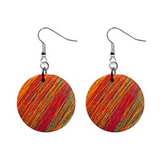 Orange Van Gogh pattern Mini Button Earrings