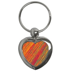Orange Van Gogh pattern Key Chains (Heart)