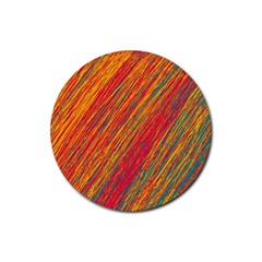Orange Van Gogh pattern Rubber Coaster (Round)