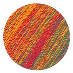 Orange Van Gogh pattern Magnet 5  (Round)
