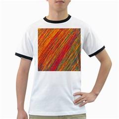 Orange Van Gogh pattern Ringer T-Shirts