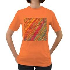 Orange Van Gogh pattern Women s Dark T-Shirt