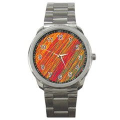Orange Van Gogh pattern Sport Metal Watch