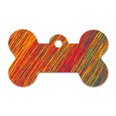 Orange Van Gogh pattern Dog Tag Bone (One Side)