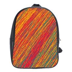 Orange Van Gogh pattern School Bags (XL)