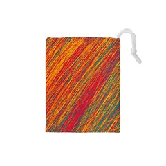 Orange Van Gogh pattern Drawstring Pouches (Small)
