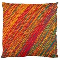 Orange Van Gogh pattern Large Flano Cushion Case (Two Sides)