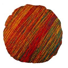 Orange Van Gogh pattern Large 18  Premium Flano Round Cushions