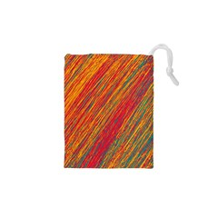 Orange Van Gogh pattern Drawstring Pouches (XS)