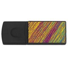 Yellow, purple and green Van Gogh pattern USB Flash Drive Rectangular (2 GB)