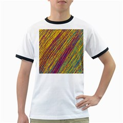 Yellow, purple and green Van Gogh pattern Ringer T-Shirts