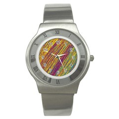 Yellow, purple and green Van Gogh pattern Stainless Steel Watch