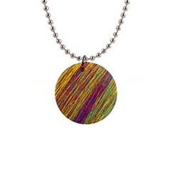 Yellow, purple and green Van Gogh pattern Button Necklaces