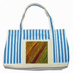 Yellow, purple and green Van Gogh pattern Striped Blue Tote Bag