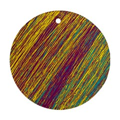 Yellow, purple and green Van Gogh pattern Round Ornament (Two Sides)