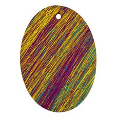 Yellow, purple and green Van Gogh pattern Oval Ornament (Two Sides)