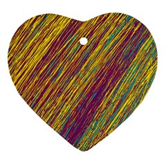 Yellow, purple and green Van Gogh pattern Heart Ornament (2 Sides)