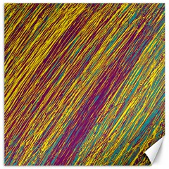 Yellow, purple and green Van Gogh pattern Canvas 20  x 20