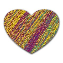 Yellow, purple and green Van Gogh pattern Heart Mousepads