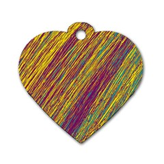 Yellow, purple and green Van Gogh pattern Dog Tag Heart (One Side)