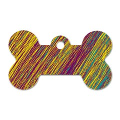 Yellow, purple and green Van Gogh pattern Dog Tag Bone (One Side)