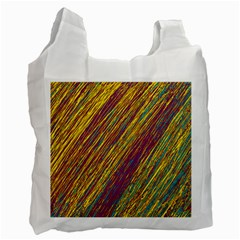 Yellow, purple and green Van Gogh pattern Recycle Bag (Two Side)