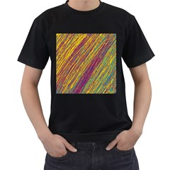 Yellow, purple and green Van Gogh pattern Men s T-Shirt (Black)