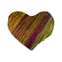 Yellow, purple and green Van Gogh pattern Standard 16  Premium Heart Shape Cushions
