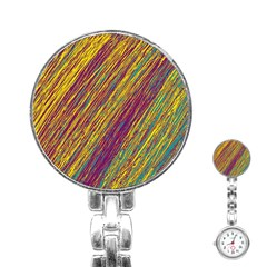 Yellow, purple and green Van Gogh pattern Stainless Steel Nurses Watch