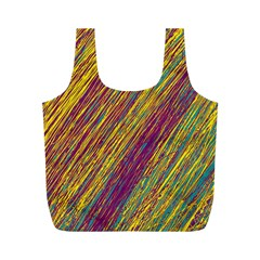 Yellow, purple and green Van Gogh pattern Full Print Recycle Bags (M)