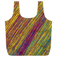 Yellow, purple and green Van Gogh pattern Full Print Recycle Bags (L)