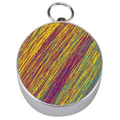 Yellow, purple and green Van Gogh pattern Silver Compasses