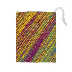 Yellow, purple and green Van Gogh pattern Drawstring Pouches (Large)