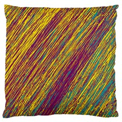 Yellow, purple and green Van Gogh pattern Large Flano Cushion Case (One Side)
