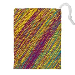 Yellow, purple and green Van Gogh pattern Drawstring Pouches (XXL)
