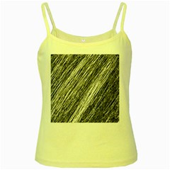Black and White decorative pattern Yellow Spaghetti Tank