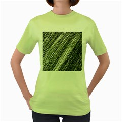 Black and White decorative pattern Women s Green T-Shirt